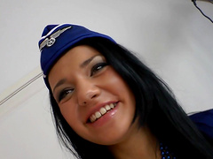 This sexy flight attendant gets her..