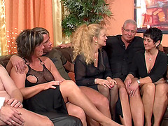 Mature hardcore orgy filled with..