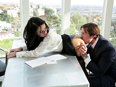 Secretary stunner Megan Rain fucked by..