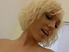 Blond slut wit natural tits and nipple..
