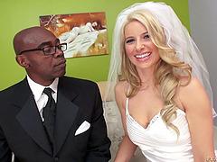 Smooth blonde in a wedding dress..
