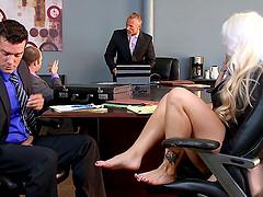 Bleach blonde secretary slut fucked by..