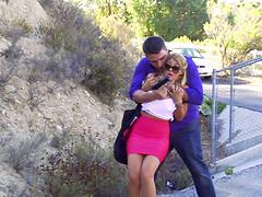 Burglar gets his cock wet inside her..
