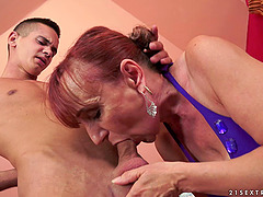 Younger guy fucks a much older woman's..