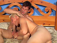 Cock sucking dude gets pounded in..