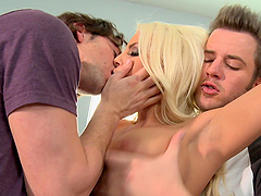 Britney Amber gets cum on tits after a..
