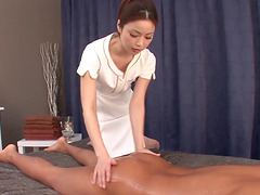 Japanese massage girl uses her mouth..