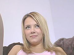 Tempting blonde teen with huge..