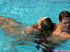 Hunky hero saves a girl in the pool..