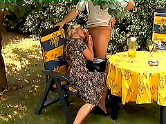 Granny putting that pussy on her man..
