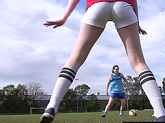 Hairy lesbian soccer player licked..