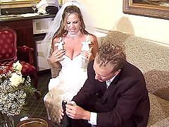 Bride and a bridesmaid have a wedding..