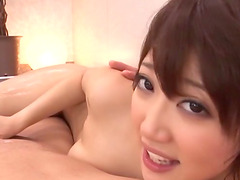 Slippery Japanese body massage with a..