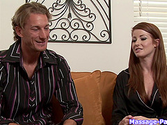 Pretty redheaded spa girl gives him a..