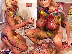 Artists paints two chicks then fucks..
