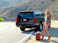 Hitchhiking hippie girl picked up and..