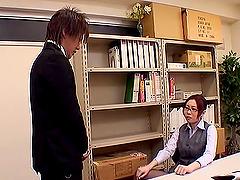 Boss bends the secretary over his desk..