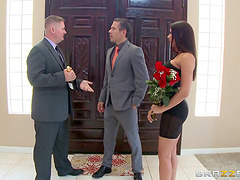 The hot wife fucks a businessman to..