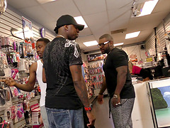 Slut at the dildo store gangbanged by..