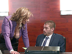 Fantastic blonde secretary relaxes a..