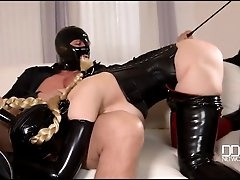 Latex fetish threesome fuck with a..