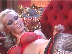 Busty Milf in red fetish outfits foot..