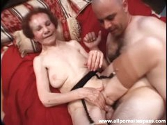 Skinny granny fucked by father and son