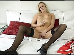 Elegant British striptease with JOI..