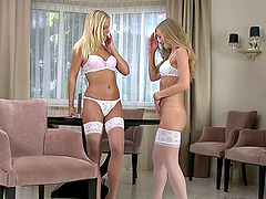 Lingerie wearing lesbians fuck and get..