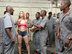 Horny inmates are ready to provide her..