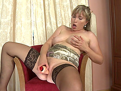 Hot mom takes off her satin panties..