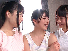 Ai Ueahara and her female friends in a..
