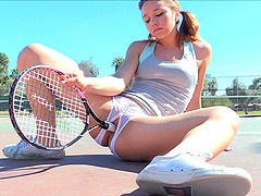 Tennis babe in crotchless panties..