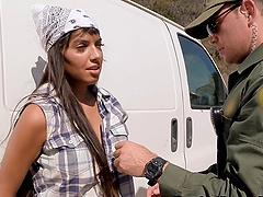 Busty Latina babe and a border patrol..