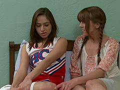 Great-looking teen brunettes having..