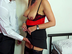 Saggy mature tits and a hot lingerie..