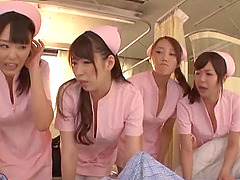 Reverse gangbang with Asian nurses and..