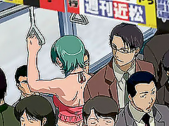 Wapanese animation containing tempting scenes in the public transport