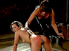 Three babes are playing dominatrix games involving BDSM and various tortures