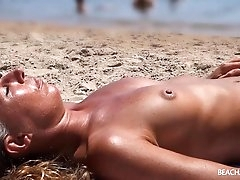 Nice tan on the sexy tits of a beach..