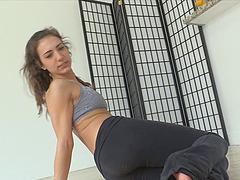 Delicious brunette sex bomb does yoga..