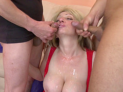 Mature slut and two college guys have..