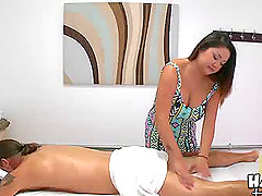Curvy Asian massages her man and jerks..