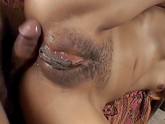 Asian slut getting her wet ass and her..