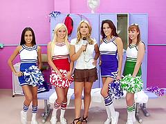 Four cheerleaders look amazing blowing..