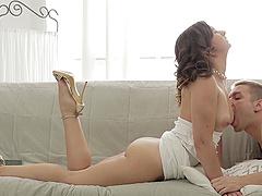 Smoking hot white dress on a gorgeous..