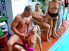 Awesome pool party with studs fucking..