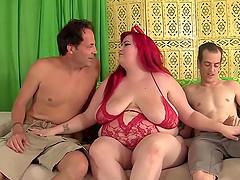Fatty Eliza Allure taked 2 dicks in..