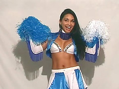 Fit cheerleader beauty fucking a dildo..