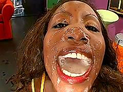 Black girl enjoying several white..